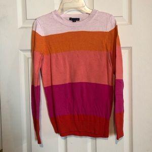 Gap Crewneck Sweater Striped Red Orange Women's XS